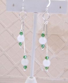 Long Dangle Earrings White Mexican Opal and Green Swarovski Crystal Silver Plate. $8.99, includes shipping and organza gift bag. #LongDangleEarrings #Opal #Swarovski #Earrings