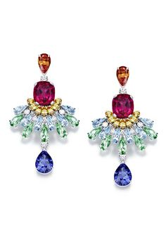 Piaget's Rose Passion earrings are set with a variety of colourful gemstones, including rubellites, topaz and aquamarines.