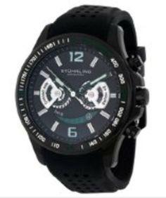 Stuhrling Original Men's Citizen Quartz Chronograph Black Dial Black Rubber gifters.com Stuhrling Watches