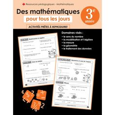 This daily French math review resource is from scholar's choice.  It has 3 or 4 math questions or problems in French that span the curriculum and strands for each day of the week (for 30 weeks).  It's our daily practice.  When there is a new concept we go over it briefly.  Most questions are self explanatory for parents who don't speak French.  By grade 3 students can translate.