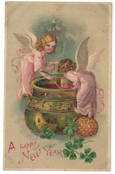 Vintage New Year Day Postcard Angels Pineapple 4 Leaf Clover Embossed Punch Bowl Vintage Happy New Year, Happy New Year Images, Happy New Year Cards, New Year Greetings, Vintage Holiday, Vintage Cards, Vintage Postcards, Vintage Images, Devian Art