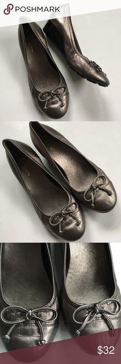"EUC Cole Haan leather shoes Excellent condition; Pewter colored leather with 1 1/2"" wedge; Nike Air technology for comfort; Smoke-free/pet-free home. Cole Haan Shoes Wedges"