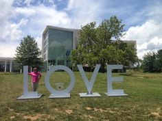 #LoveVa @VisitMontVa visits the temporary LOVE sign in front of the Center for the Arts at Virginia Tech