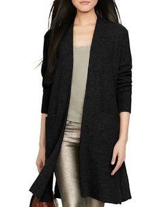 Polo Ralph Lauren Ribbed Wool-Cashmere Cardigan Women's Black Large