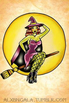 cute pin up retro witch tattoo idea