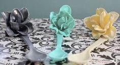 This is amazing!!!!! Melting plastic spoons to make hair accessories is genius! Love it!