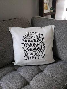There's a great big beautiful tomorrow throw pillow case, subtle Disney decor, farmhouse Disney, Disney livingroom, Disney bedroom Blush Pillows, Large Pillows, Decorative Pillows, Large Pillow Cases, Throw Pillow Cases, Cute Kittens, Vintage Sofa, Cover Design, Marker