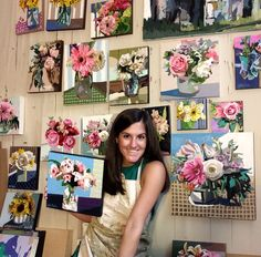 Kate Mullin with her paintings in the background. www.katemullinart.com
