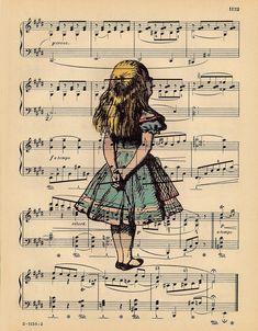 ALICE In WONDERLAND Vintage Art Print on Antique Sheet Music Page Alice in Wonderland Upcycled Recycled Art Print. $10.00, via Etsy.