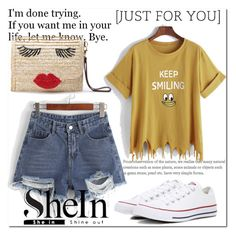 """""""shein 7"""" by miralemaa ❤ liked on Polyvore featuring Converse and shein"""