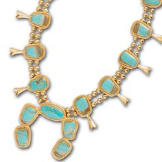 Stunning Statement Necklace 13 Genuine Kingman Turquoise Stones 18K Gold Plated Brass Designed in Houston, Texas The Squash Blossom from Christina Greene's Western Contemporary collection is the ultim