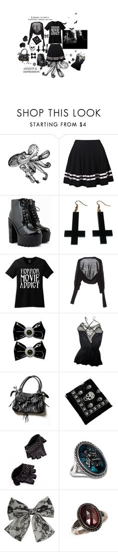 """""""into the shadows i go"""" by acidgirl ❤ liked on Polyvore featuring Chicnova Fashion, TKO Tees, GUESS by Marciano, Kreepsville 666, M.A.C, PATH, KMRii, Alexander McQueen, Skingraft and Miss Selfridge"""
