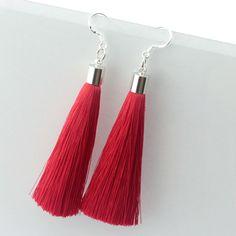 925 Sterling Silver Earrings Long Silk Tassel Earrings Drop Stardust Earrings for Women and Girl