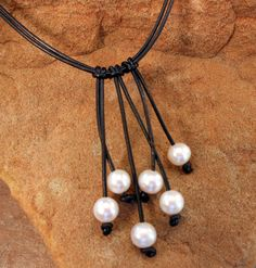 Leather and Pearl Necklace.