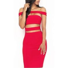 'Kylie' Bandage Dress-Red (455 BRL) ❤ liked on Polyvore featuring dresses, sexy pink dress, off shoulder dress, red off shoulder dress, sexy cocktail dresses and sexy dresses