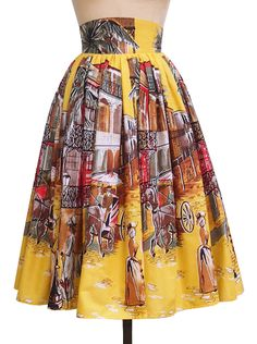 I wear too much black.  I could rock the hell out of this beauty!  1950s Inspired Knee Length Gathered Skirt   French Quarter