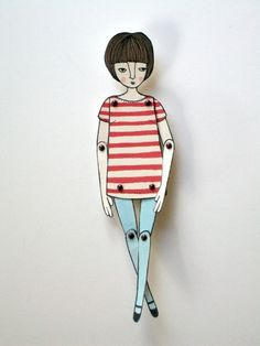 miniature moveable paper doll in red stripes door JordanGraceOwens Paper Dolls, Art Dolls, Diy And Crafts, Paper Crafts, Paper Puppets, Paper Illustration, Art Lessons Elementary, Arte Popular, Stop Motion
