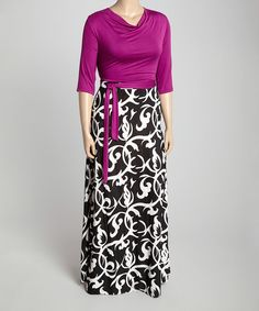 Look at this Berry & Black Floral Drape-Neck Maxi Dress - Plus on #zulily today!