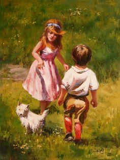 Bambini con cane nel campo