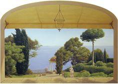 Italian mural, classical landscape trompe l'oeil, acrylic on canvas