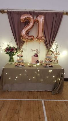 cake and cupcake table decor for Birthday party- rose gold theme 21st Bday Ideas, 25th Birthday Parties, Birthday Party Decorations Diy, Birthday Party Tables, Birthday Bash, Birthday Ideas, Rose Gold Table Decorations, Hanging Decorations, 21 Party