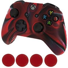 Generic Silicone Cover Case Skin  Grip Stick Caps for Microsoft Xbox One Controller Black and Red *** More info could be found at the image url.Note:It is affiliate link to Amazon. #cute