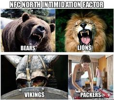 Bears, Lions, Vikings and. Oh my? The NFC North Division is known as th… Bären, Löwen, Wikinger und. Oh mein? Detroit Lions Football, Minnesota Vikings Football, Bears Football, Detroit Lions Funny, American Football, Chicago Bears Funny, Vikings Packers, Bears Packers, Football Jokes