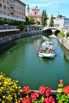 The Flower Bridge overlooking the Ljubljanica River - Ljubljana, Slovenia