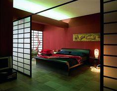 Decoración de dormitorio en rojo y negro