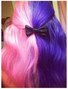 Half pink half purple hair! Cute bow too
