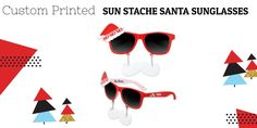 Custom Printed Sun Stache Santa Sunglasses is something that can make your office parties and Christmas celebrations more fun. These fun-style custom sunglasses are featuring an interesting moustache that attracts the attention of people instantly. Office Parties, Unique Christmas Gifts, More Fun, Giveaway, Celebrations, Cool Style, Santa, Make It Yourself, Sunglasses