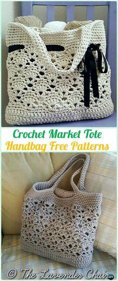 Mercado de ganchillo bolso de mano del patrón libre - #Crochet bolso de Patrones grati