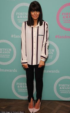 Winning style: Claudia Winkleman was trendy in a pair of black skinny jeans and a striped ...