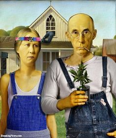 New American Gothic? Pinned because of the new marijuana and industrial hemp laws passed or pending in many states. This will change the work of plant regulatory agencies, agricultural Extension, and university crop research in a big way. American Gothic House, American Gothic Parody, Weed Pictures, Weed Pics, Witch Pictures, Mona Lisa, Marijuana Art, Medical Marijuana, Marijuana Funny