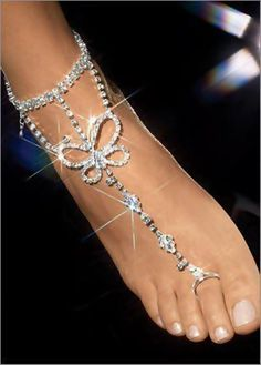 See more Barefoot wedding silver butterfly style sandals for ladies
