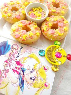 #SailorMoon Inspired Doughnuts! Lemon Doughnuts w/ strawberry glaze & homemade sprinkles! #SailrMoonCrystal