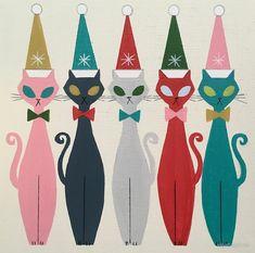 Cats/ Christmas Cats-Multicolor Kitty Santa by elgatogomez Retro Christmas Decorations, Vintage Christmas Cards, Vintage Holiday, Vintage Cards, Vintage Ephemera, Noel Christmas, Modern Christmas, Christmas Cats, Christmas Ornaments