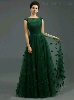 Just Shop for Solid Color Stereo Flower Sleeveless Tulle Elegant Dresses from Jollyhers Online now: All Kinds of Designer Special Occasion Dresses wit. Green Evening Dress, A Line Evening Dress, A Line Prom Dresses, Bridesmaid Dresses, Summer Dresses, Wedding Dresses, Green Gown, Homecoming Dresses, Long Dresses