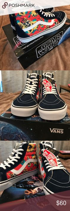 NEW VANS Star Wars Yoda Aloha Ski-HI Reissue.RARE NEW VANS men's 10.5 Star Wars Yoda Aloha Ski-HI Reissue.RARE box included. Blue and red, Pictures of condition. Bought online from a collector, All bundles of 2 or more receive 15% off. Closet full of new, used and vintage Vans, Skate and surf companies, jewelry, phone cases, shoes and more. Vans Shoes Sneakers