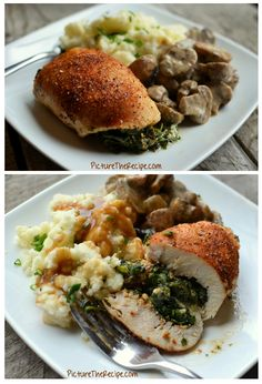 Spinach Stuffed Chicken Rolls withh Roasted Parmesan Mushrooms copy