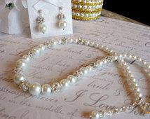 Swarovski Rhinestone and Pearl Bridal Necklace and Earring Set - Brides and Bridesmaid Jewelry