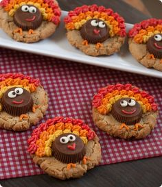 peanut butter cup turkey cookies...triple-shot of peanut butter: cookie, cup & frosting! from @bridget edwards {bake at 350}
