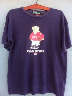 d271679cc168 Vintage 80s Polo Bear Ralph Lauren T-shirt Black and Red colors Hip Hop  Swag Rapper Style