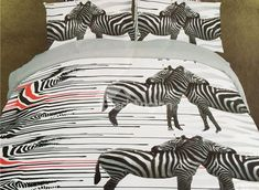 Amazing #3D Zebra Print 4-Piece Polyester Duvet Cover #bedding #bedroom #decor