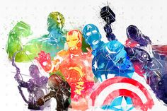 Marvel Avengers Watercolor Poster Print by PenelopeLovePrints