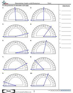 Measuring Angles With A Protractor Worksheet Angles Worksheets Free Commoncoresheets Measuring Angles With A Protractor Worksheet Geometry Worksheets, Free Math Worksheets, Math Resources, Geometry Activities, 8th Grade Math Worksheets, Measuring Angles Worksheet, Math Formulas, Protractor, Math Fractions