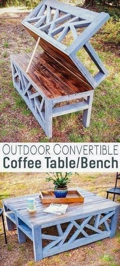 Plans of Woodworking Diy Projects - Outdoor Convertible Coffee Table Bench DIY Woodworking Plans #woodworkingbench #kidswoodworkingprojects #WoodworkingTools Get A Lifetime Of Project Ideas & Inspiration! #WoodworkPlans