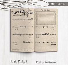Printable Arrow Midori Weekly Planner Inserts, Fauxdori Bullet Journal