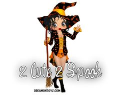 2 Cute 2 Spook ~ More Betty Boop Halloween Graphics & Greetings ★ http://bettybooppicturesarchive.blogspot.com/search/label/Halloween AND ON FACEBOOK https://www.facebook.com/media/set/?set=a.710293905651126.1073741836.157123250968197&type=3 - Sexy Betty Boop witch created by Hilda