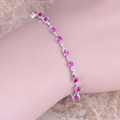 Graceful Red Ruby 925 Sterling Silver Overlay Link Chain Bracelet 6.5 - 7.5 inch Free Shipping & Gift Bag S0512